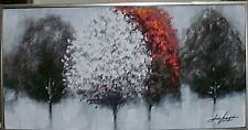 Öl Bild 1Leinwand Bäume Wand Deko Metall Rahmen Zeitgenössische Malerei Geschenk