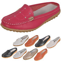 Ladies Slip on Leather Loafer Mules Flats Backless Moccasins Casual Slider Shoes