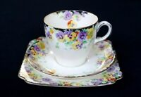 Beautiful Royal Doulton Art Deco Wild Pansy Trio