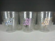 Tervis Tumblers Set of 3 12 oz Clear Blue Yellow Purple Flowers Plastic