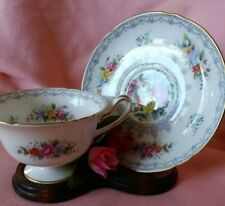 "Vintage Shelley ""Crochet"" Bone China  Florals Footed Tea Cup & Saucer Set"