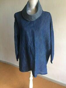 ESKANDAR sz 0 monk cowl tunic linen/cotton indigo very toast/plumo