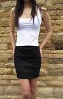 Womens Black Cotton Lycra Stretch High Waist New Skirt Size UK 8 10 12 14 16 18