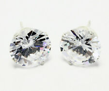 Cubic Zirconia CZ Round Cut Stud Earrings .925 Sterling Silver 11mm Jewelry