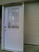 "BRAND NEW:  36""x80""  STEEL Exterior DOOR w/ 9-Lite Glass & Wood Frame"