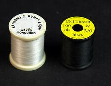 Uni-Thread 3/0 Black & Raymond C Rumpf & Son Waxed Monocord White - 2 Spools