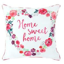 Floral Fusion HOME SWEET HOME Square Cushion Pink Piping 40 x 40cm NEW FREE P&P