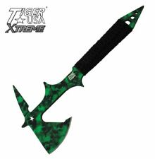 "15"" TIGER USA XTREME GREEN SKULL CAMO THROWING AXE, CORD WRAPPED HANDLE + SHEATH"