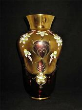 Bohemian Crystal Vase, Cranberry or Red & Gold, Hand Painted Enamel Flowers 12""