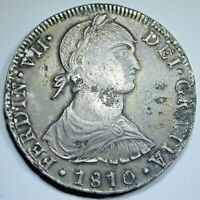 1810 JP XF-AU Peru Silver 8 Reales Antique 1800's Spanish Colonial Dollar Coin