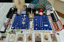 JOB LOT SOLID SILVER & VINTAGE,COSTUME JEWELLERY, COINS,VICTORIAN PHOTOS,BOXES