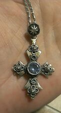 "Vintage 800 Silver Blue Topaz Jerusalem Cross Pendant on 18"" Sterling Chain"