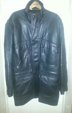 Men's  XXL BRAEFAIR Very Soft Black Leather Coat Parka w/6 Pockets NWOT