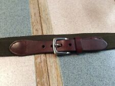 Nautica Mens Belt Size 30 Green With Brown Leather Silver Buckle New Old Stock