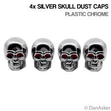 4x Silver Skull Car Bike Motorcycle BMX Wheel Tyre Valve Plastic Dust Caps
