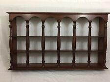 """VTG Large Curio Wall Shelf 36"""" Wide X 20"""" High X 5"""" Spindle 3 Tier Brown Wood MC"""