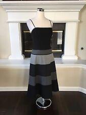 BCBG Max Azria black and gray stripe boned wool midi dress 10 NWOT