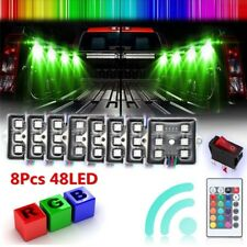 2 Set Bed Rail Light Kit Truck Bed Light RGB 48 Super Bright LED w/Remote+Switch