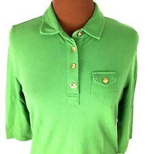 Talbots Womens Polo Shirt Medium M Green 3/4 Sleeves Gold Button Stretch Top