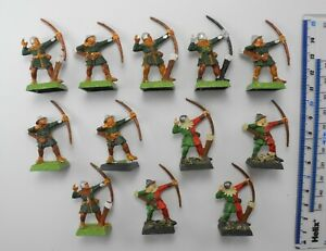 12 BRETONNIAN ARCHERS Plastic Bretonnia Army Bowmen Painted Warhammer 1990s 85