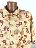 Columbia Floral Hawaiian Shirt Men's XL Orange Marlin Hibiscus Tiki Short Sleeve
