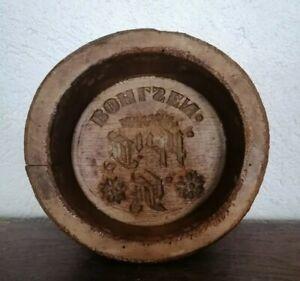 Wunderschöne alte Butterform Butter Model Holz Schrift & Blumen Landhaus Shabby