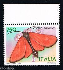 ITALIA 1 FRANCOBOLLO ANIMALI FARFALLE ZYGAENA RUBICUNDUS 750 LIRE 1996 nuovo**