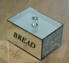 Beautiful Silver Crushed Diamond Crystal Mirrored Bread Bin Container, Kitchen,