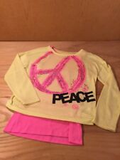 Justice Girls Crewneck Crop Sweater Peace Neon Yellow Pink Tank Sequins Size 14