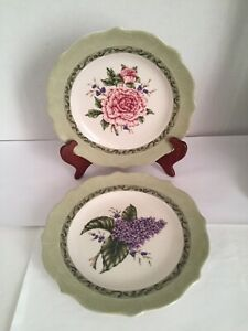 Princess House Exclusive Vintage Garden Salad Luncheon Plates Set of 2 Floral