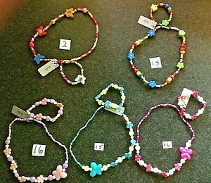 GIRLS BRACELET BEADS NECKLACE JEWELRY BUTTERFLY LADYBIRD SET WOODEN or PEARLISED
