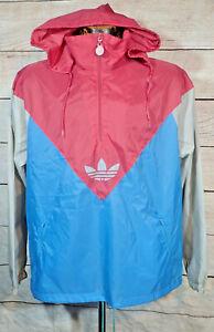 80s Adidas Trefoil Hooded Track Jacket Pullover Anorak Windbreaker M Colorblock