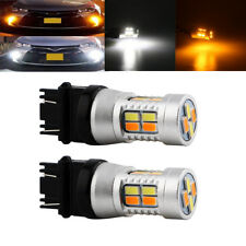 2Pcs White Amber T25 3157 20SMD 5730 LED Dual-Color Switchback Tail Light Bulbs