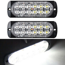 2X Ultra Slim White 12-LED Surface Mount Recovery Flashing Strobe Light 12/24V