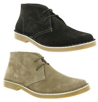 Hi-Tec Leather Real Suede 2 Eye Lace Round Toe Mens Desert Boots Size 7-12
