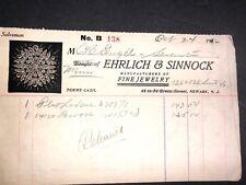 Ehrlich & Sinnock Mfr Jewelry Billhead Letterhead 1912 Newark New Jersey