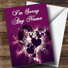 Purple Hearts And Swirls Personalised Sorry Greetings Card