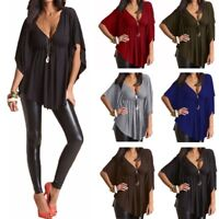 New Women Oversized Low Cut V Neck Batwing Sleeve Stretch Tops Shirt Blouse Tee
