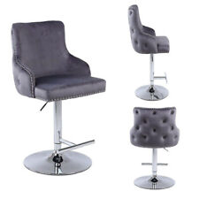 Bar Stool Tufted Swivel Gaslift Quality, Premium Mechanism Velvet Fabric, Chrome