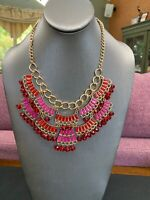 """Vintage Pink And Red Glass Faceted Beaded Rhinestone Bib Statement Necklace 18"""""""