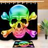 Custom Rainbow Skull Shower Curtain Bathroom Liner Mat Waterproof Fabric Hooks