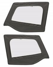 1988-1995 Jeep Wrangler Soft Top Front Upper Door Windows Skins Black Denim Pair