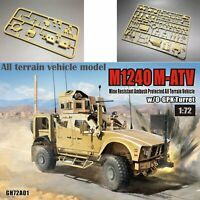 T-MODEL GH72A01 1/72 M1240 M-ATV MRAP All Terrain Vehicle w/O-GPK Turret Nouveau