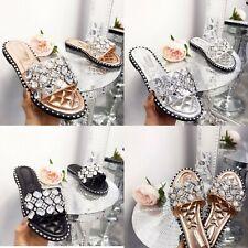 Womens Ladies Flat Slip on Sliders Diamante Summer Sandals Mules Slippers Size