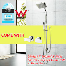 8'' 2-in-1 Set Rain HandHeld Double Square Shower Head Rose 1/4 Turn Taps Chrome