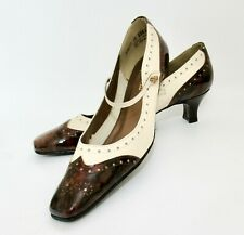 Vintage 70s Magdesians Leather Patent Leather Wing Tip Mary Jane Mod Heels 10 SS