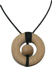Anxiety ADHD discreet Sensory tool Beech Wood Pendant Necklace for ladies & men