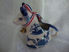 Vintage Delft Handpainted Sitting Cow Milk Creamer Pitcher w/ Ribbon & Bell -