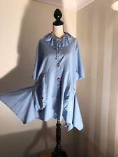 Alice Collins Light Blue Linen Cotton Blend Asymmetric Front Pocket Dress Size16