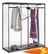 Portable Clear Cover Closet Storage Rack Wardrobe Garment Clothes Organizer Hang
